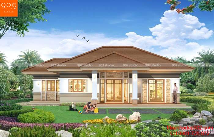 Thiết kế biệt thự nhà vườn 1 tầng trệt đẹp (nguồn: maunhadep902.com)