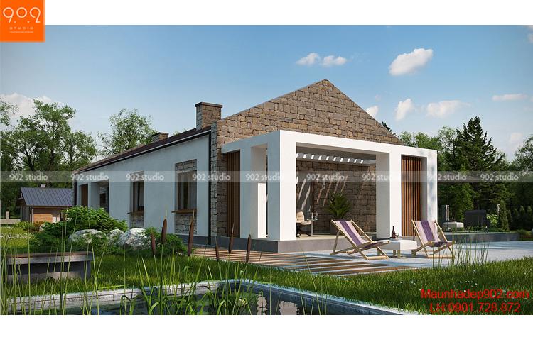 Ngôi nhà 1 tầng đẹp kết hợp với sân vườn (nguồn: maunhadep902.com)