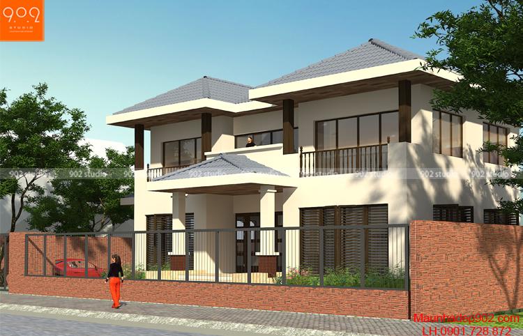 Thiết kế nhà 2 mặt tiền kinh doanh (nguồn: maunhadep902.com)