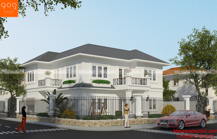 Mẫu nhà đẹp tận dụng tối đa lợi thế nhà 2 mặt tiền (nguồn: maunhadep902.com)