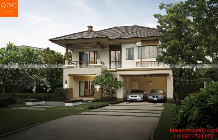 Thiết kế nhà đẹp 2 tầng đơn giản