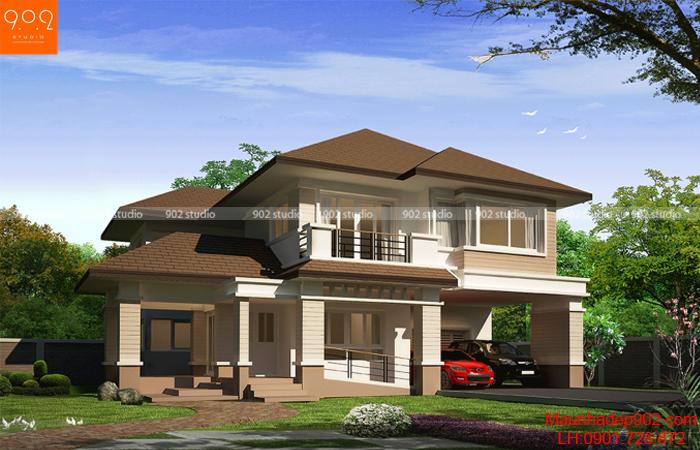 Mẫu nhà 2 tầng đẹp 2 mặt tiền cũng đang rất được săn đón (nguồn: maunhadep902.com)