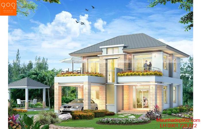 Mẫu nhà 2 tầng đẹp có gara sân vườn đẹp