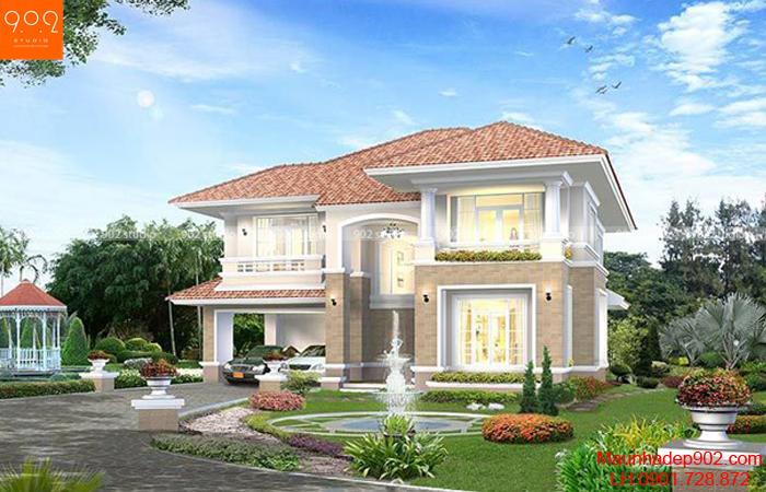 Ngôi nhà hiện đại không kém phần sang trọng với mái ngói đỏ