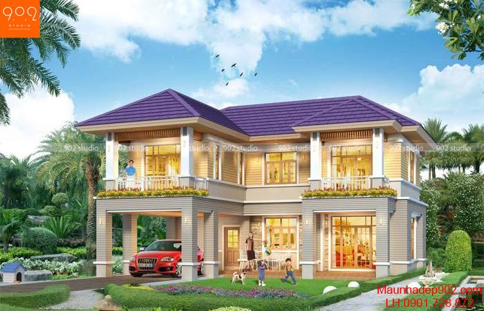 Bản vẽ thiết kế nhà đẹp 2 tầng chữ L