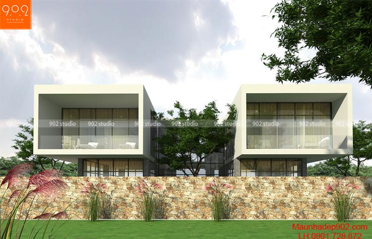 Nhà 2 tầng hiện đại đẹp với khối kiến trúc song lập