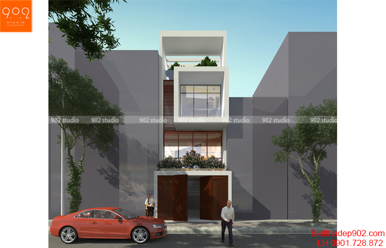 Nhà 2 tầng hiện đại có giếng trời mang đến không gian xanh, thoáng mát, tiện nghi