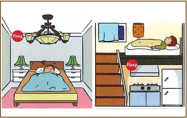 Vị trí đặt giường tránh xà ngang, trên bếp rất không tốt
