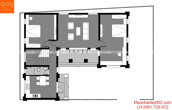 Mặt bằng tầng 1 mẫu nhà 2 tầng 4 phòng ngủ mái thái