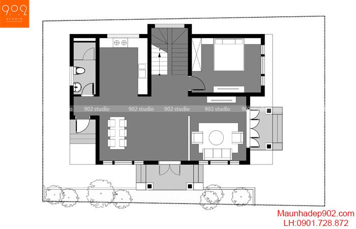 Công năng mặt bằng tầng 1 nhà 2 tầng