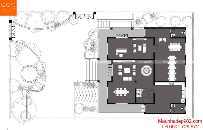 Bản vẽ mặt bằng tầng 1 mẫu nhà 2 tầng bán hầm