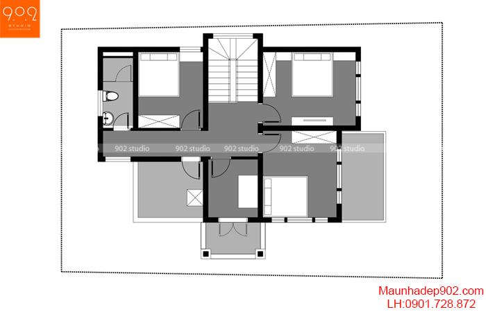 Mặt bằng tầng 2 mẫu nhà 2 tầng 100m2