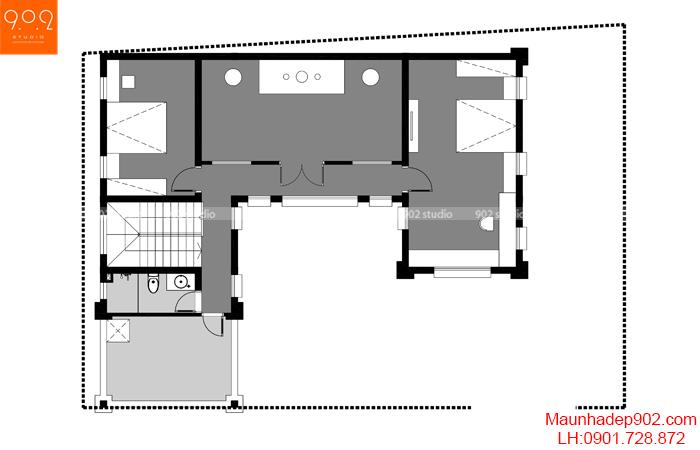 Mặt bằng tầng 2 mẫu nhà 2 tầng mặt tiền nhà phố đẹp