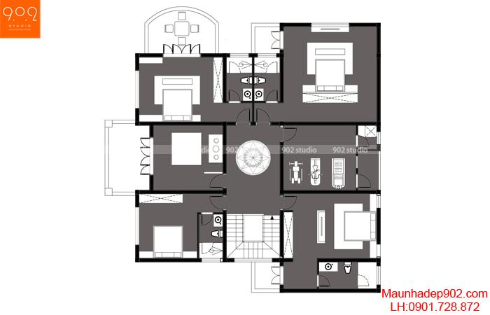 Bản vẽ mặt bằng tầng 2 mẫu nhà 2 tầng bán hầm