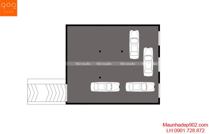 Bản vẽ mặt bằng tầng hầm mẫu nhà 2 tầng bán hầm