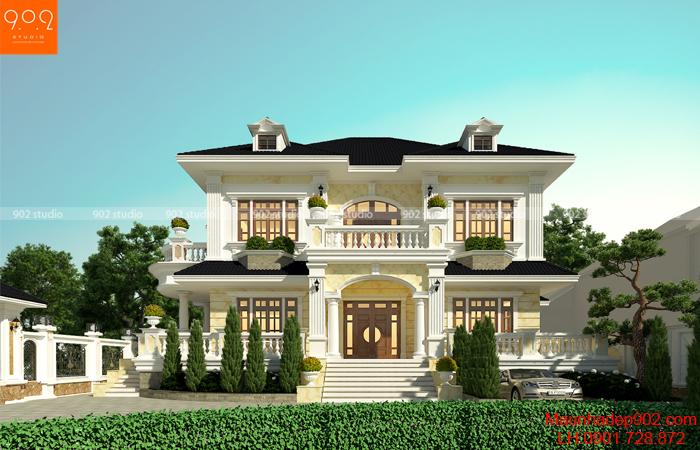 Mẫu nhà 2 tầng đẹp có tầng bán hầm ở Quảng Trị – BT151