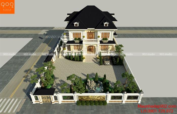 Hình ảnh toàn bộ khuôn viên hòn non bộ trong mẫu nhà 2 tầng 2 mặt tiền đẹp
