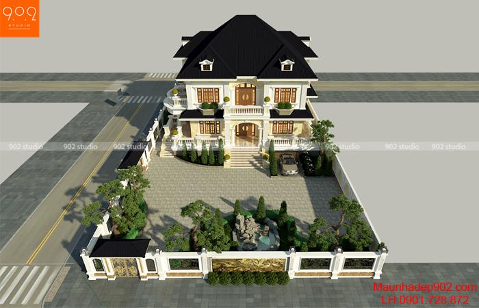 Phối cảnh tổng thể toàn bộ khuôn viên hòn non bộ trong mẫu nhà 2 tầng 2 mặt tiền đẹp