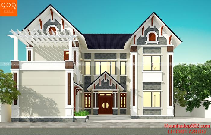 Mặt tiền mẫu nhà 2 tầng đẹp 4 phòng ngủ