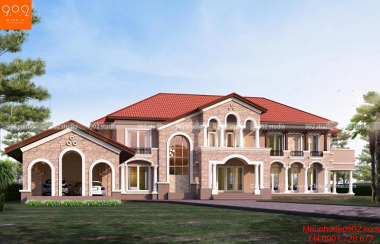 Thiết kế biệt thự cổ điển mái ngói đỏ