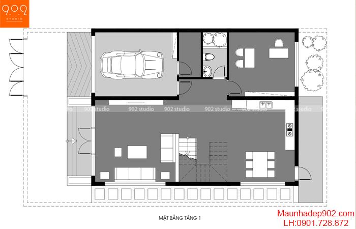 Mặt bằng công năng mẫu nhà trệt 1 lầu có 3 phòng ngủ đẹp
