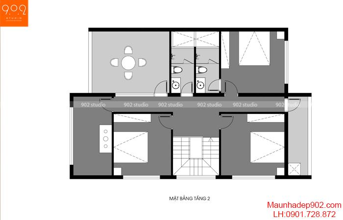 Mặt bằng công năng tầng 2 mẫu nhà phố hiện đại 1 trệt lầu