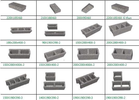 Kích thước các loại gạch betong