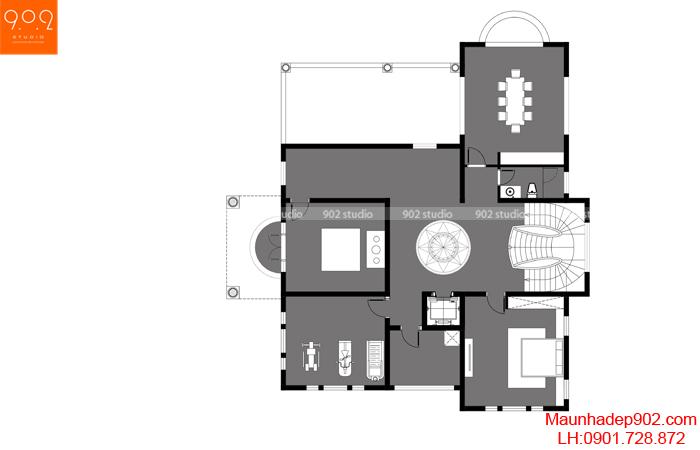 Mặt bằng tầng 3 - Thiết kế biệt thự 3 tầng tân cổ điển sang trọng mặt tiền phố đẹp ở Hưng Yên