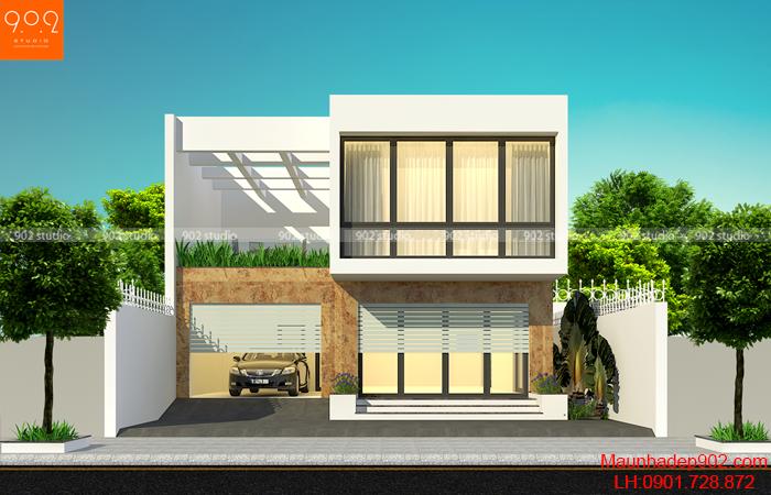 Phối cảnh view 2: Thiết kế nhà 1 trệt 1 lầu có 3 phòng ngủ phong cách hiện đại