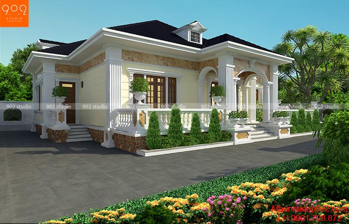 Phối cảnh 3: Thiết kế biệt thự 1 tầng nhà vườn 3 phòng ngủ 185m2 đẹp ở nông thôn