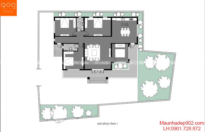 Phối cảnh 5: Mặt bằng công năng thiết kế biệt thự 1 tầng nhà vườn 3 phòng ngủ 185m2 đẹp ở nông thôn