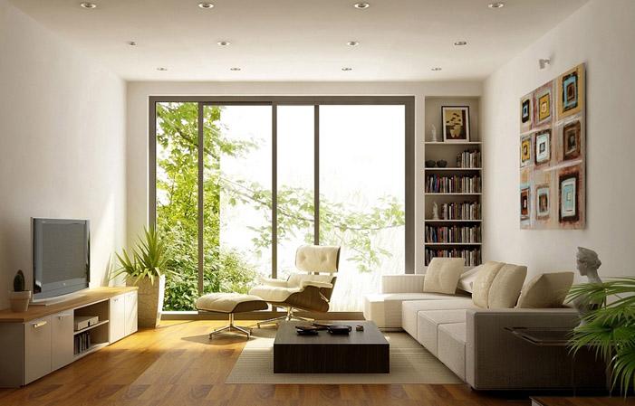 Với diện tích chỉ 20m2 nên lựa chọn nội thất có thể tận dụng triệt để khoảng không là điều cần thiết. Bố trí ngay chiếc kệ tivi và tủ sách ở ngay sườn tường, đây là cách hữu hiệu nhất để tiết kiệm diện tích cho căn phòng