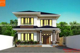 Mẫu thiết kế nhà 2 tầng 4 phòng ngủ mái thái đẹp diện tích 165m2, kích thước 12X26.8m được xây dựng trên ô đất 310m2