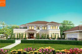 Mẫu biệt thự nhà vườn 2 tầng 6 phòng ngủ đầu năm 2018 được thiết kế cho nhà chị Hiền ở Đồng Tháp