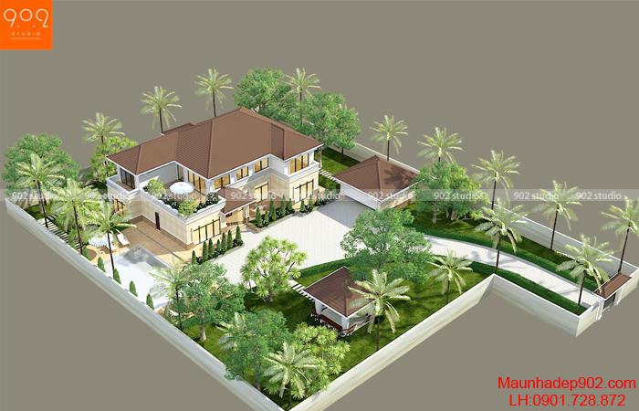 Thiết kế biệt thự vườn 2 tầng đẹp trên đất 2200m2 tại Đồng Tháp