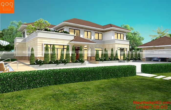Năm 2018, kiến trúc nhà vườn 2 tầng phong cách hiện đại mái thái sẽ ngày càng phổ biến với nhiều màu sắc nổi bật