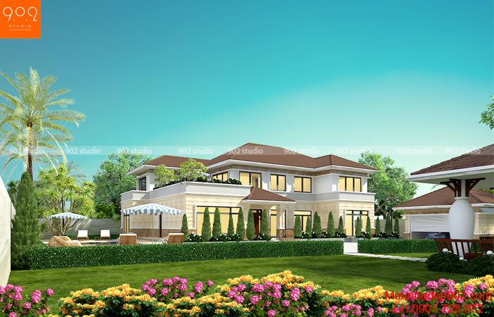 Mẫu nhà vườn 2 tầng phong cách hiện đại với kiểu dáng đơn giản, không gian tự nhiên thông thoáng, mát mẻ tạo lối sống quen thuộc cho người Việt