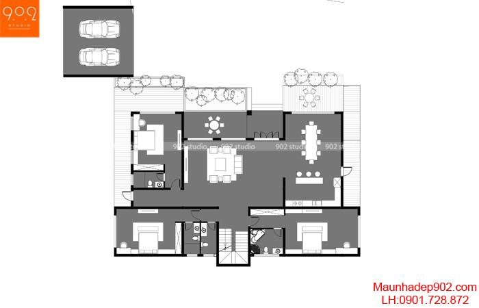 Mặt bằng tầng 1 - Mẫu biệt thự vườn 2 tầng BT159