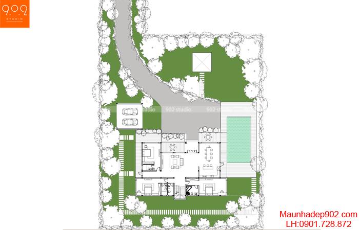 Mặt bằng tổng thể - Mẫu biệt thự vườn 2 tầng đẹp 2018 - BT159
