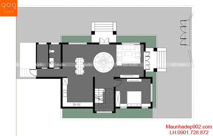 Mặt bằng tầng 1 - Mẫu nhà 2 tầng mái ngói 4 phòng ngủ BT157