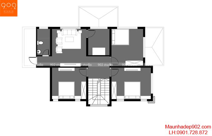 Mặt bằng tầng 2 - Mẫu nhà 2 tầng mái ngói 4 phòng ngủ BT157