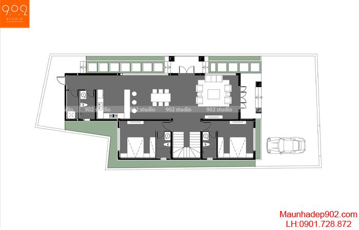 Mặt bằng tầng 1 - Mẫu nhà 2 tầng mái thái 4 phòng ngủ - BT158