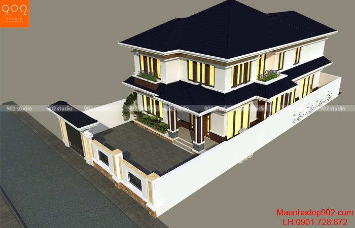 Đối với những gia đình 4 người thì lựa chọn những mẫu thiết kế biệt thự 2 tầng 4 phòng ngủ là vừa đủ công năng sử dụng lại tiết kiệm chi phí xây dựng.