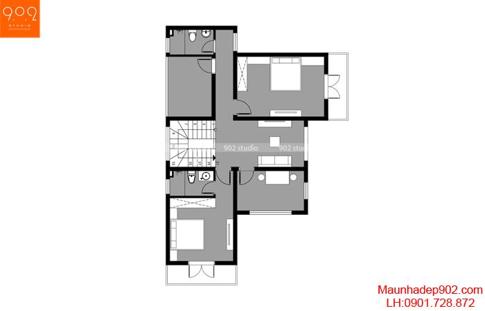 Mặt bằng tầng 2 - Mẫu nhà 2 tầng mái thái 120m2