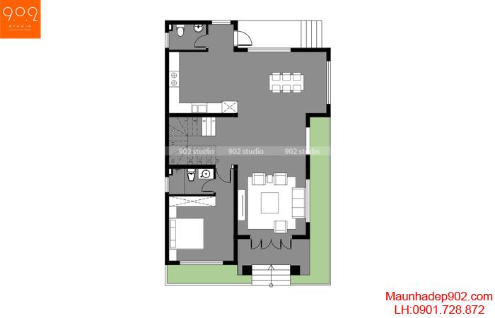 Mặt bằng tầng 1 - Mẫu nhà mái thái 2 tầng