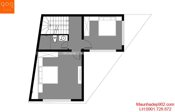 Mặt bằng tầng 2 - Mẫu nhà ống 3 tầng 2 mặt tiền thông thoáng