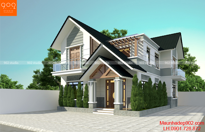 Thiết kế nhà 2 tầng 120m2 đep