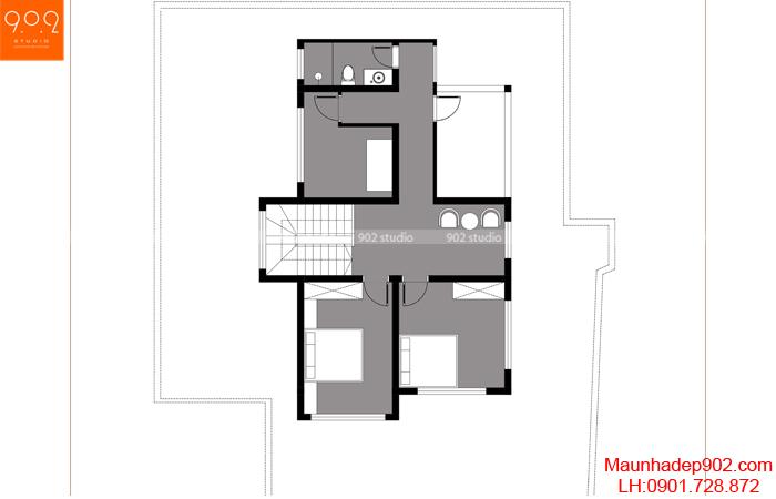 Mặt bằng tầng 2 - Mẫu nhà mái thái 2 tầng 4 phòng ngủ BT161