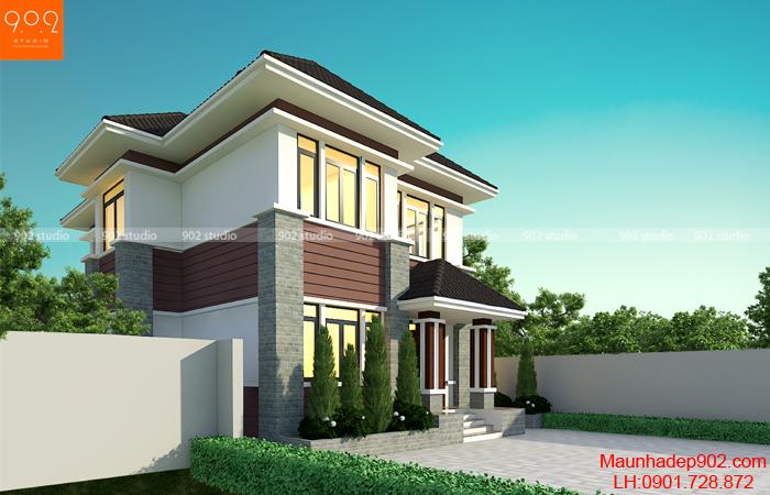 Nhà mái thái 2 tầng được kiến trúc sư thiết kế theo kiểu dáng mới sang trọng