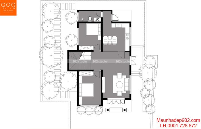 Mặt bằng tầng 1 - Mẫu nhà mái thái 2 tầng 4 phòng ngủ BT161